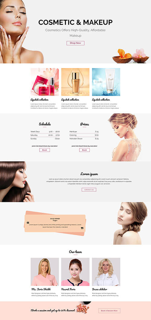beauty landing Template